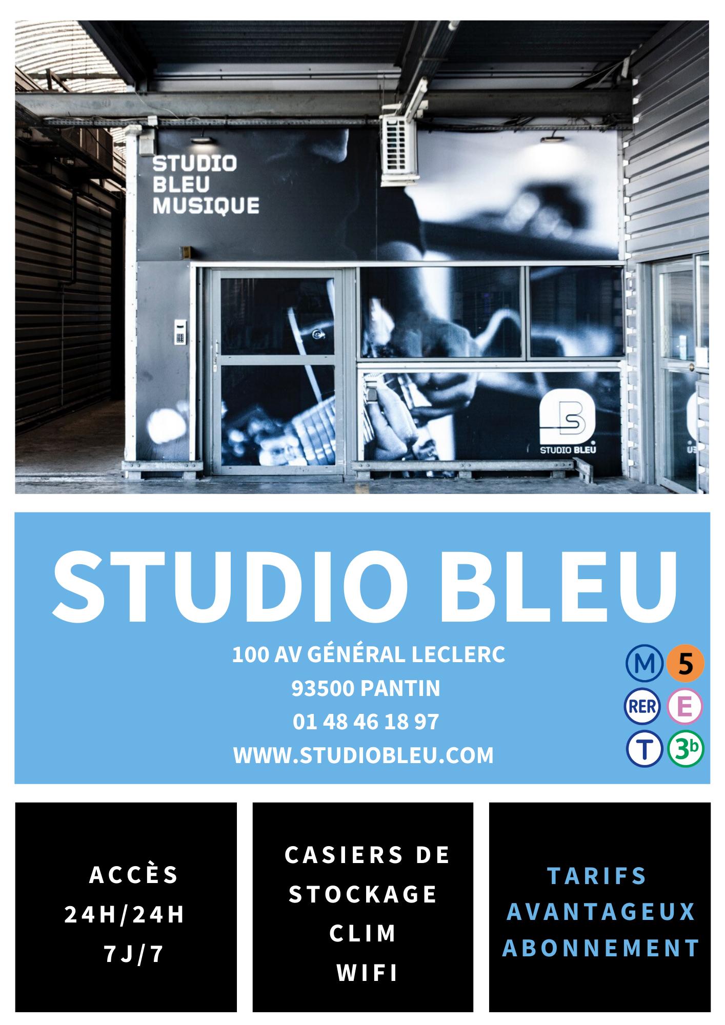 pub facebook Studio Bleu Pantin avec coordonnées Antoine